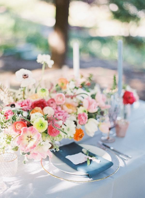 Centerpiece and Place Setting | Monet Garden Wedding Inspiration by Nathalie Cheng Photography