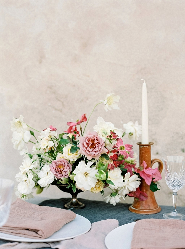 Pink and White Floral Centerpiece   Old World Bridal Inspiration By Jen Jar Photography