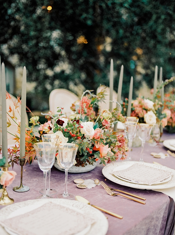 Gilded Flatware and Loose Organic Floral Centerpieces   Romantic Bridal Ballerina Inspiration In Malibu by Babsie Ly Photography