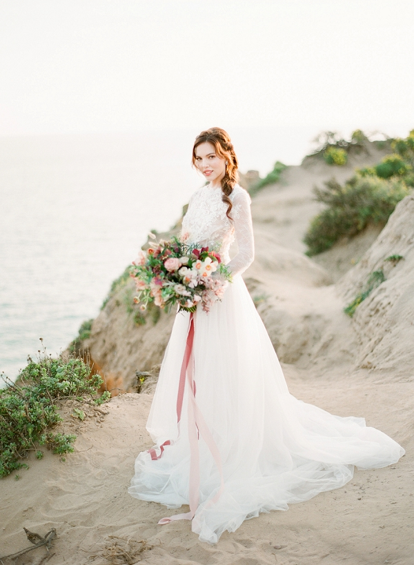 Bride with Lush Bouquet | Cliffside Hawaii Wedding Inspiration By Koman Photography