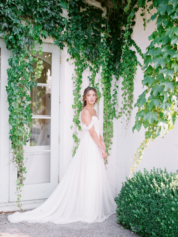 Delicate Off The Shoulder Wedding Dress | French Provence Wedding Inspiration by Savan Photography