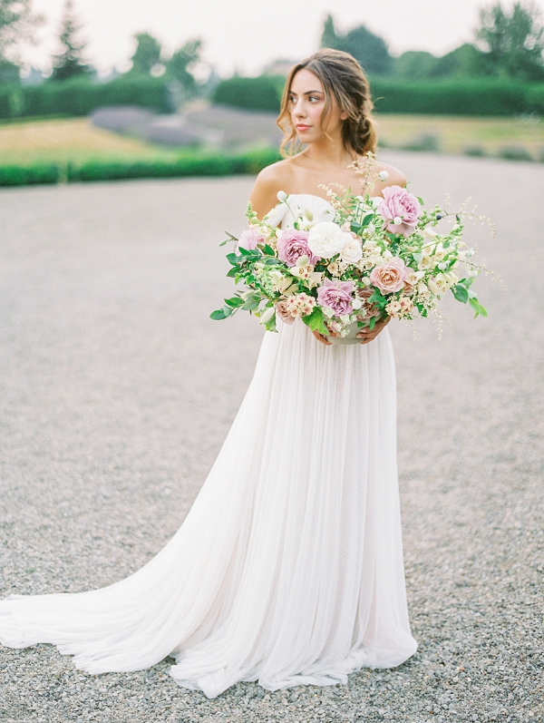 Bride with Centerpiece | French Provence Wedding Inspiration by Savan Photography