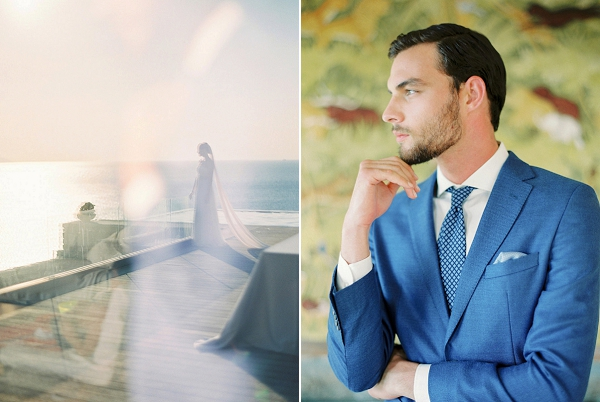 Groom in Modern Blue Suit | Seaside Elopement Inspiration by Darya Kamalova of Thecablookfotolab