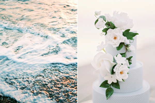Wedding Cake with Flowers | Seaside Elopement Inspiration by Darya Kamalova of Thecablookfotolab