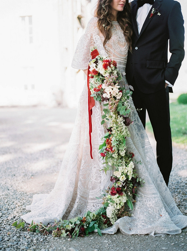 Red and Ivory Cascading Wedding Bouquet | Jenzel Velo Photography from the Sylvie Gil Workshop in France