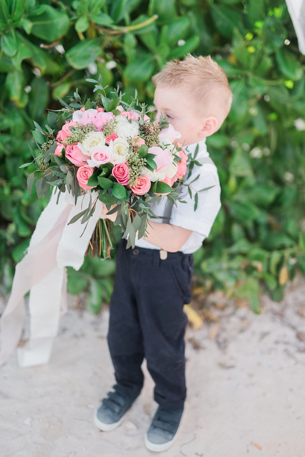 Ring Bearer Holding the Bouquet | Tropical Tulum Wedding By Mason Neufeld Photography