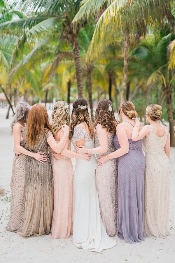 Mismatched Bridesmaid Dresses In Soft Hues | Tropical Tulum Wedding By Mason Neufeld Photography