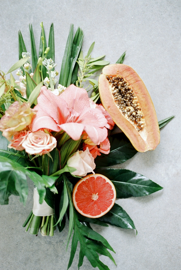 Tropical Wedding Bouquet | Indoor Tropical Wedding Inspiration by Kerry Jeanne Photography