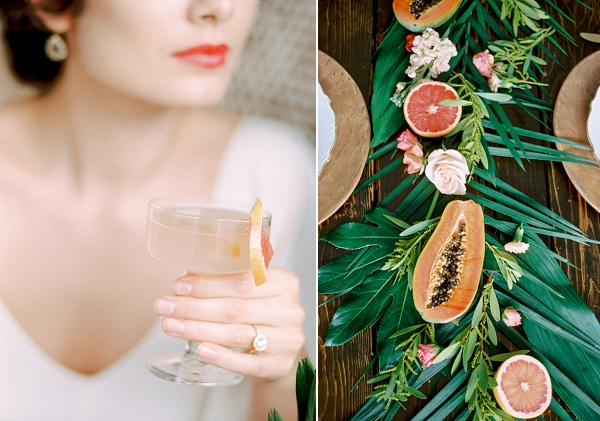 Tropical Wedding Cocktail | Indoor Tropical Wedding Inspiration by Kerry Jeanne Photography