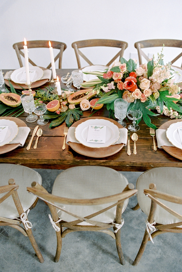 Palette of Earth Tones and Bright Accent Colors | Indoor Tropical Wedding Inspiration by Kerry Jeanne Photography