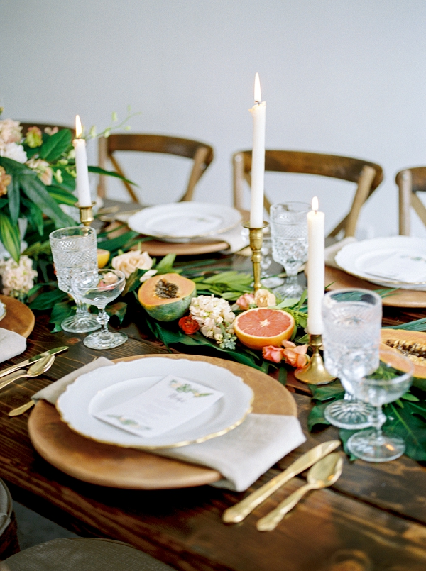 Tropical Tablescape | Indoor Tropical Wedding Inspiration by Kerry Jeanne Photography