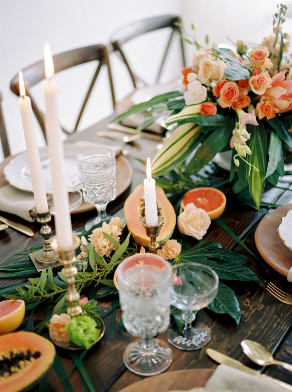 Tropical Fruit for the Tablescape | Indoor Tropical Wedding Inspiration by Kerry Jeanne Photography
