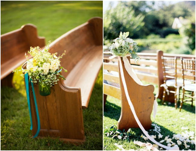 Church-Pews-Decorated-Outdoors-Wedding