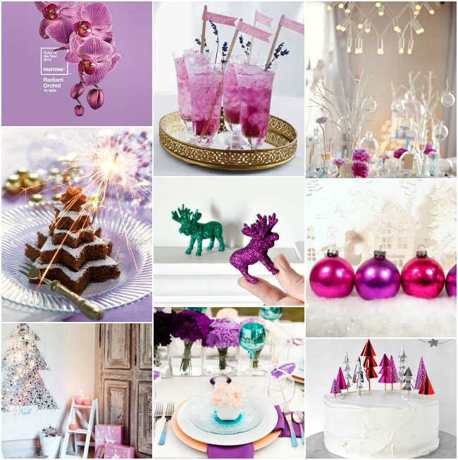 Christmas colour palette with radiant orchid