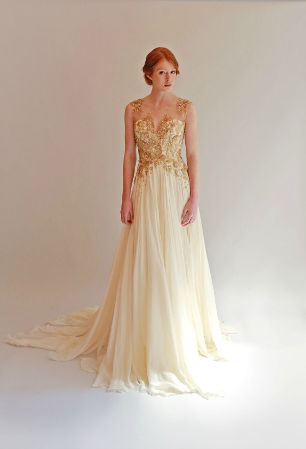 'Betsy' in Gold. Leanne Marshall Spring 2015 Bridal Collection | Bajan Wed