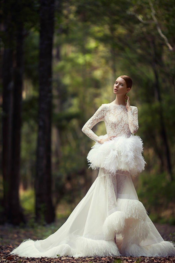 Tigris catsuit with Pishon Feather Peplum and Skirt | George Wu 2014 Bridal Collection 'The Light of Eden' | Bajan Wed