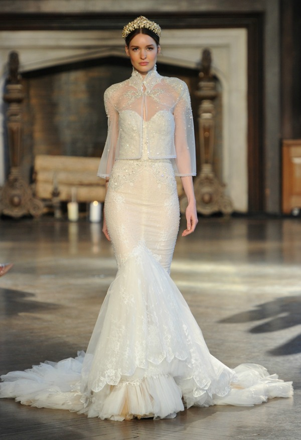 Inbal Dror Fall 2015 Bridal Collection | Sheer Cover-Up Wedding Dress