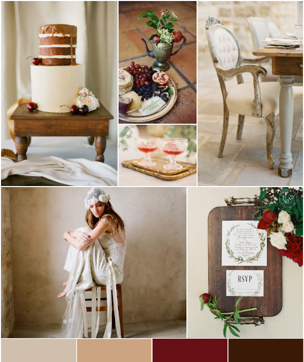 Inspiration Board: Cranberry Red Paired With Earthy Browns