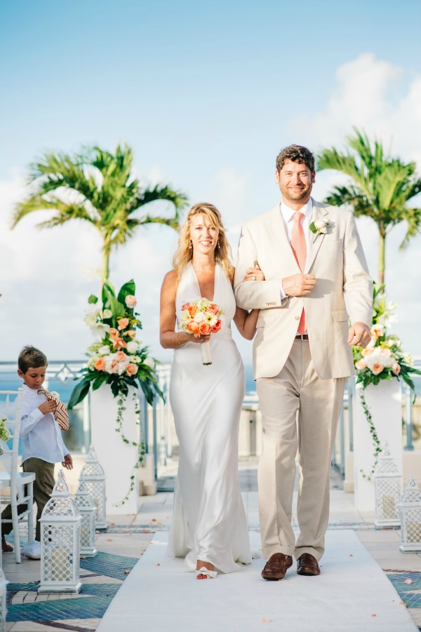 Vibrant Coral and White St. Martin Wedding | Aaron & Jillian Photography