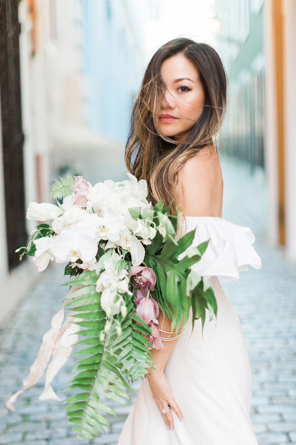 Beautiful Bride with a Stunning Bouquet for a Caribbean Destination Wedding Editorial By Meggie Francisco Events and Tracy Enoch Photography