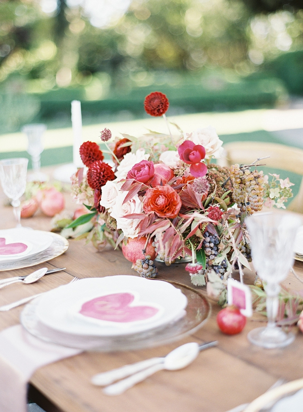 Elegant Outdoor Tablescape | Blush and Merlot Color Palette Inspiration By Jessica Kay Photography