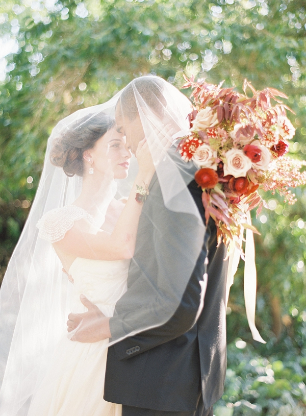 Bride and Groom | Red and Blush Bouquet | Blush and Merlot Color Palette Inspiration By Jessica Kay Photography