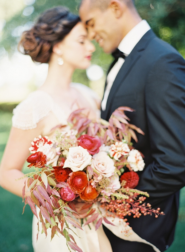 Stunning Floral Bouquet | Blush and Merlot Color Palette Inspiration By Jessica Kay Photography