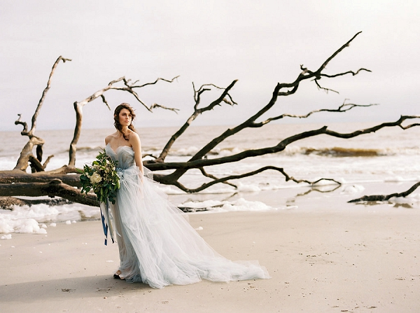 Beach Bride with Organic Bouquet | Coastal Fine Art Bridal Inspiration from Perry Vaile Photography