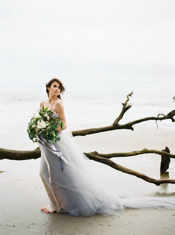 Bride with Bouquet | Coastal Fine Art Bridal Inspiration from Perry Vaile Photography