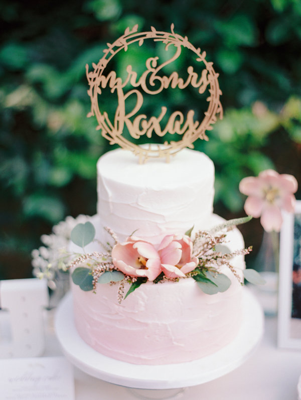 Pink and White Wedding Cake with Gilded Calligraphy Cake Topper | Oahu Hawaii Fine Art Wedding By Alp & Isle Photography