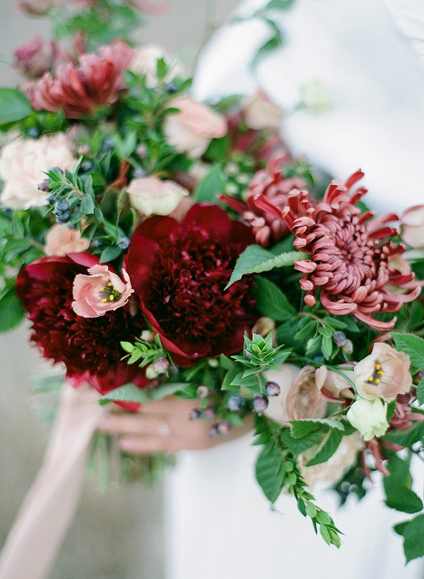 Deep Red and Pink Bouquet | Romantic Bridal Inspiration from BW Member Samantha Kirk Photography