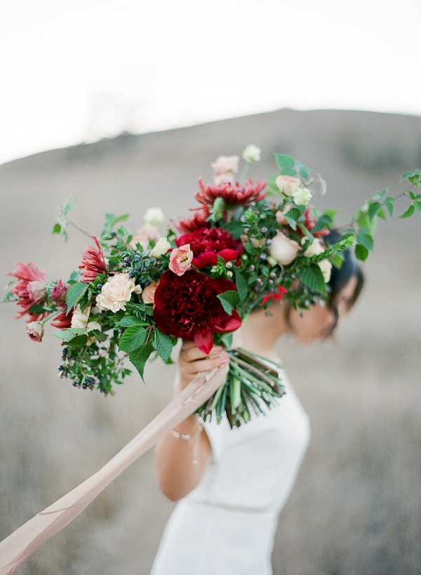 Red and Pink Organic Bouquet | Romantic Bridal Inspiration from BW Member Samantha Kirk Photography