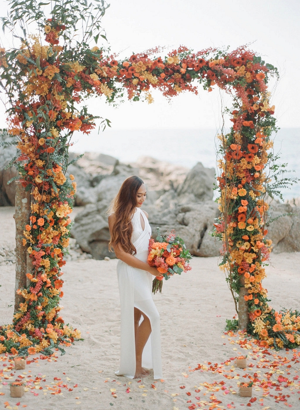 Luxe Floral Beach Wedding Arch   Tropical Luxe Wedding Inspiration in Thailand from Megan W Photography
