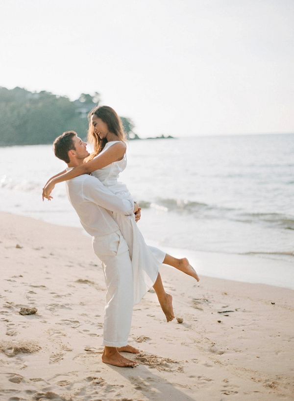 Beach Bride and Groom   Tropical Luxe Wedding Inspiration in Thailand from Megan W Photography