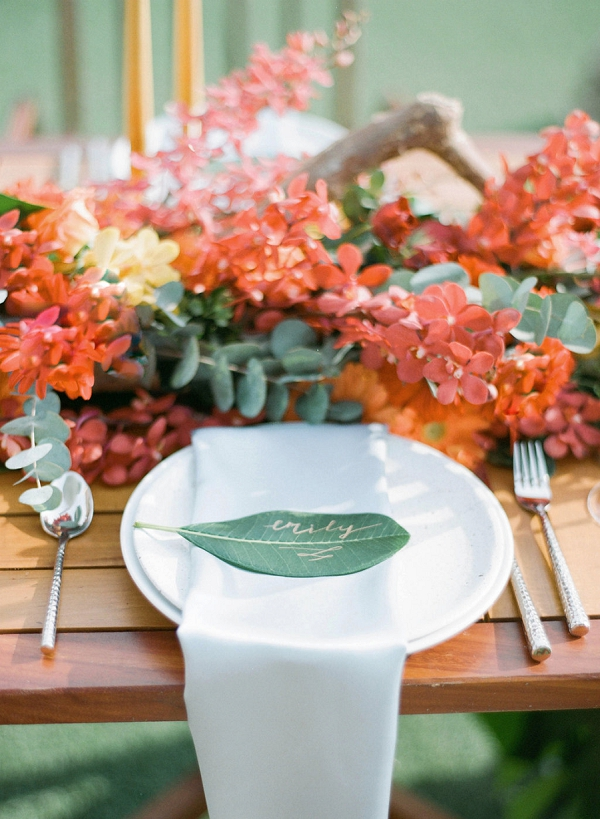 Tropical Place Setting | Tropical Luxe Wedding Inspiration in Thailand from Megan W Photography