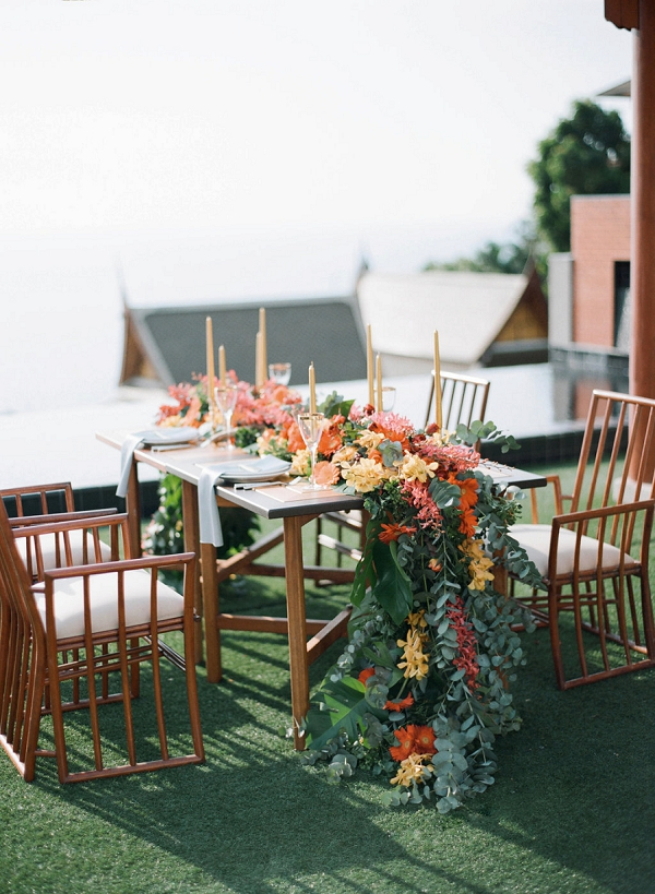 Tropical Wedding Tablescape | Tropical Luxe Wedding Inspiration in Thailand from Megan W Photography