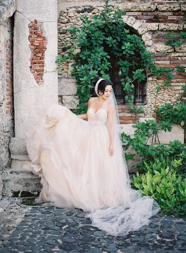 Bride in Blush Wedding Dress | Dominican Republic Resort Wedding By Carrie King Photographer