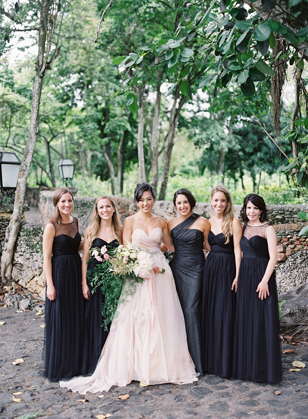 Bridesmaids in Black with Bride | Dominican Republic Resort Wedding By Carrie King Photographer