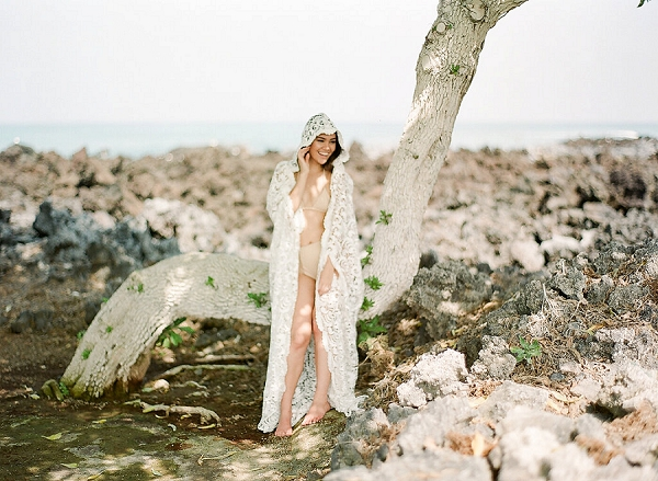 Bridal Boudoir on a Beach In Hawaii | Elegant Seaside Wedding Inspiration In Hawaii from Bonphotage