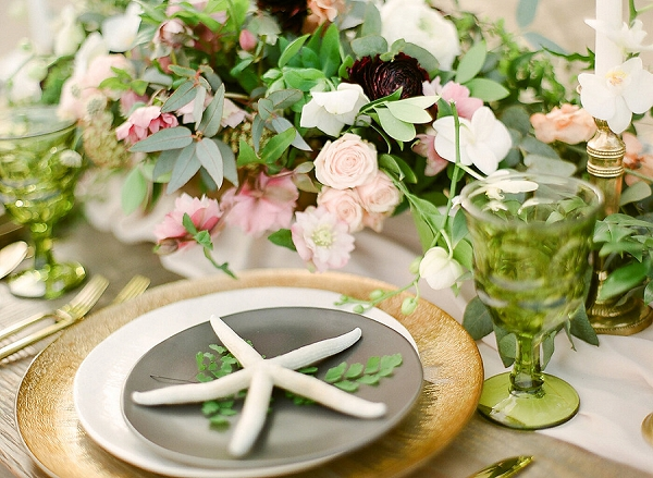 Organic Beach Wedding Place Setting and Tablescape | Elegant Seaside Wedding Inspiration In Hawaii from Bonphotage