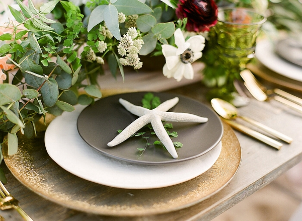 Organic and Romantic Beach Wedding Tablescape | Elegant Seaside Wedding Inspiration In Hawaii from Bonphotage