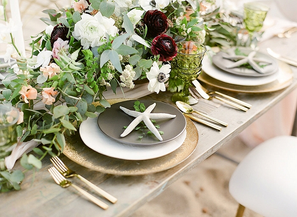 Beach Wedding Tablescape | Elegant Seaside Wedding Inspiration In Hawaii from Bonphotage