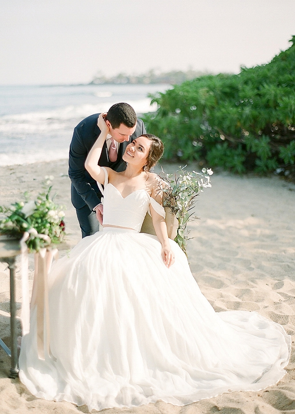 Bride and Groom | Elegant Seaside Wedding Inspiration In Hawaii from Bonphotage