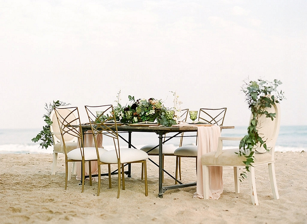 Seaside Tablescape | Elegant Seaside Wedding Inspiration In Hawaii from Bonphotage