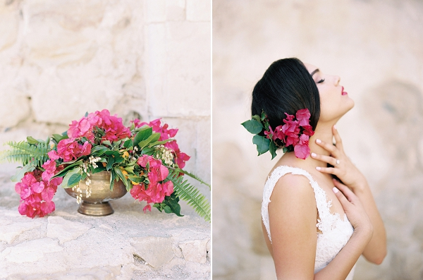 Bougainvillea Centerpiece | Old World Spanish Style Wedding Inspiration By Savan Photography