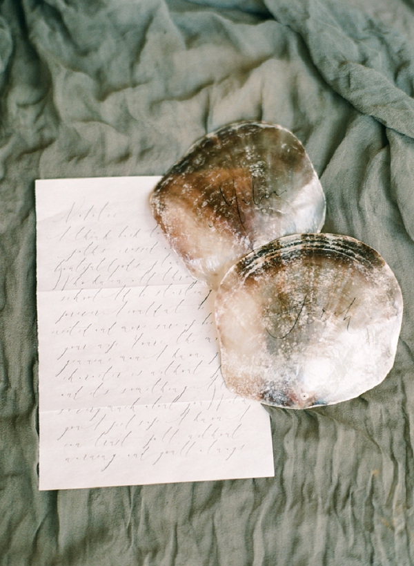 Oyster Shell Seating Cards with Calligraphy   Organic Coastal Wedding Inspiration by Connie Whitlock Photography