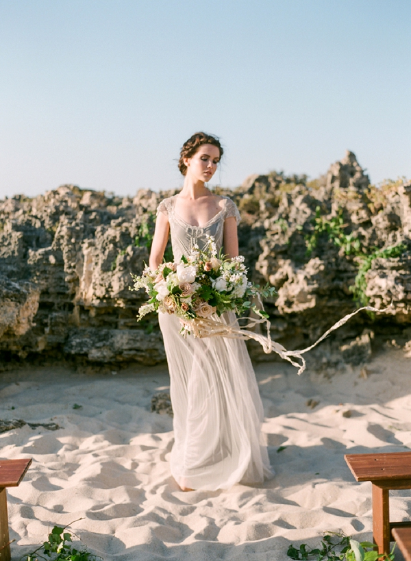 Romantic Bride on the Beach with Lush Bouquet | Organic Coastal Wedding Inspiration by Connie Whitlock Photography