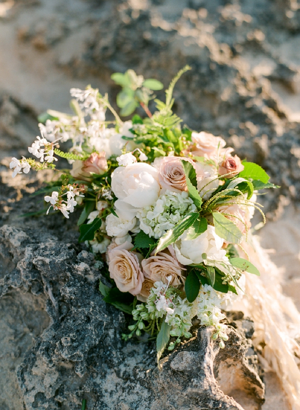 Bridal Bouquet In Muted Shades | Organic Coastal Wedding Inspiration by Connie Whitlock Photography