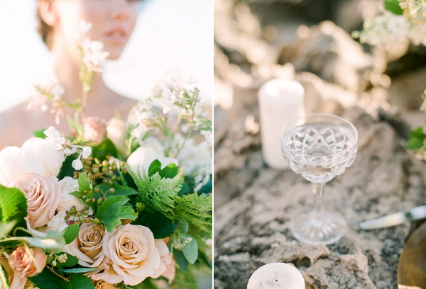 Bride with Peach and White Bouquet | Organic Coastal Wedding Inspiration by Connie Whitlock Photography