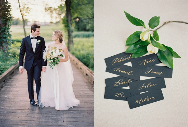Classic Bride and Groom | Black Calligraphy Escort Cards in Gold Ink | Classic Wedding Inspiration By Rachel May Photography